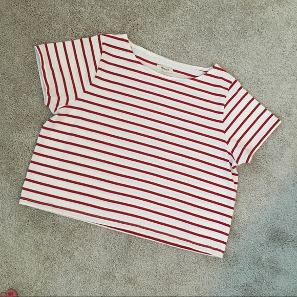 Madewell Tops - Madewell Red and White Crop Top Short Sleeves